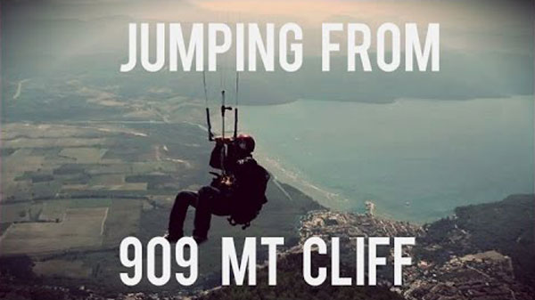 World Record Kite Jump from 909m Cliff