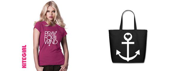 kitegirl T-shirt Pink & Beach Tote