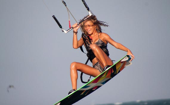 Katie Bowcutt Kiteboarding Tail Grab
